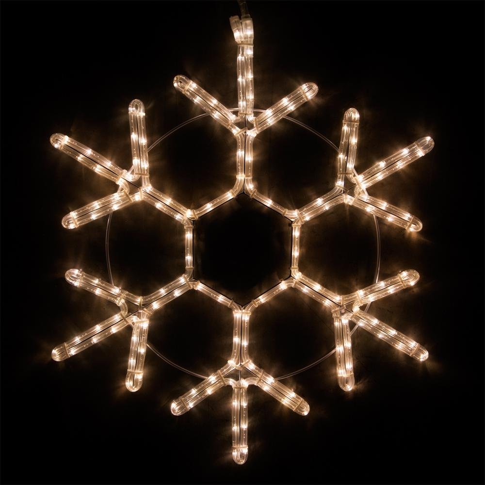 24 in. 138-Light LED Warm White 18 Point Hanging Snowflake Decor