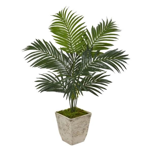 Nearly Natural 46 in. Kentia Artificial Palm Tree in Country White
