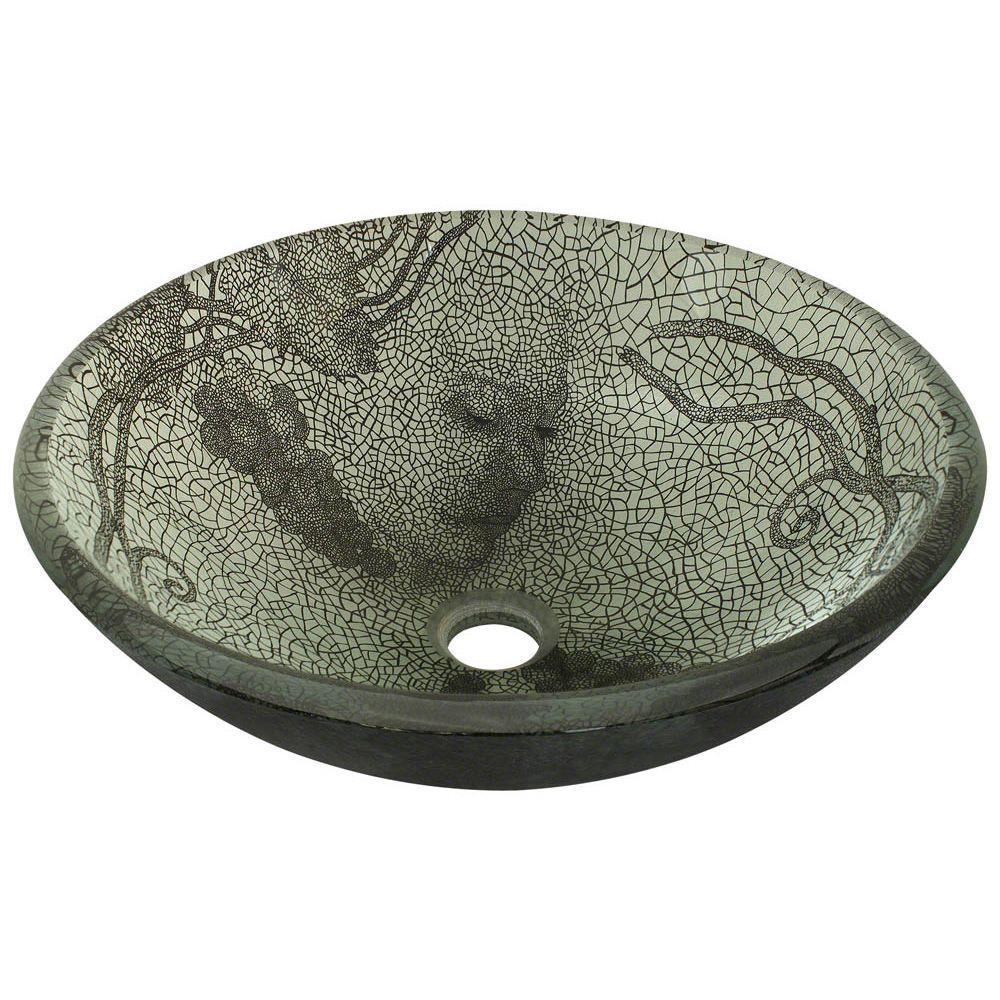 Glass Vessel Sink in Vineyard Green and Smoky-Gray