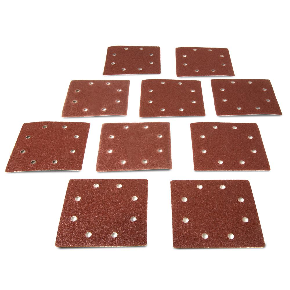 1/4 in. Sheet Sander 80-Grit Hook-and-Loop Sandpaper (10-Pack)