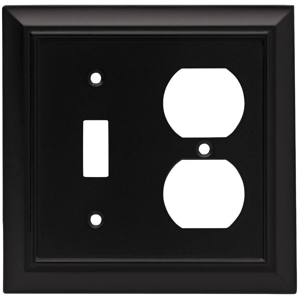Black 2-Gang 1-Toggle/1-Duplex Wall Plate (1-Pack)