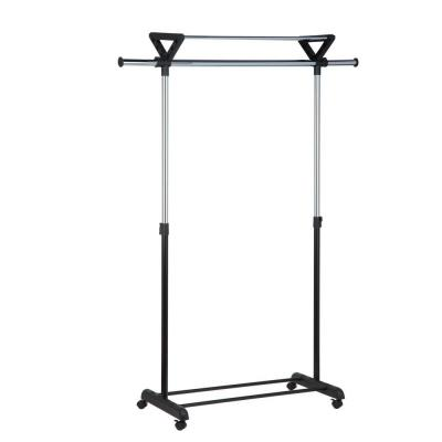 Black/Chrome Plastic Clothes Rack (26 in. W x 17 in. H)