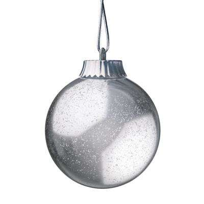 silver led outdoor hanging globe ornament