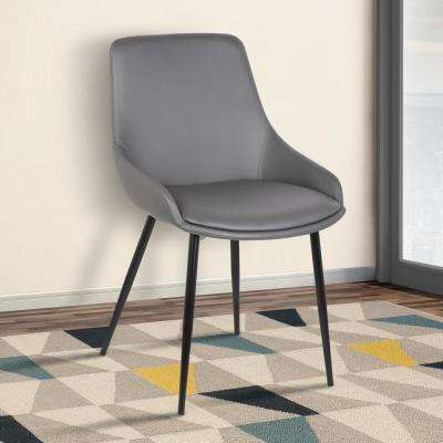 Mia 33 in. Gray Faux Leather and Black Powder Finish Contemporary Dining Chair