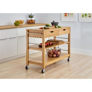 TRINITY 48 in. Bamboo Kitchen Island with Drawers TBFLNA ...