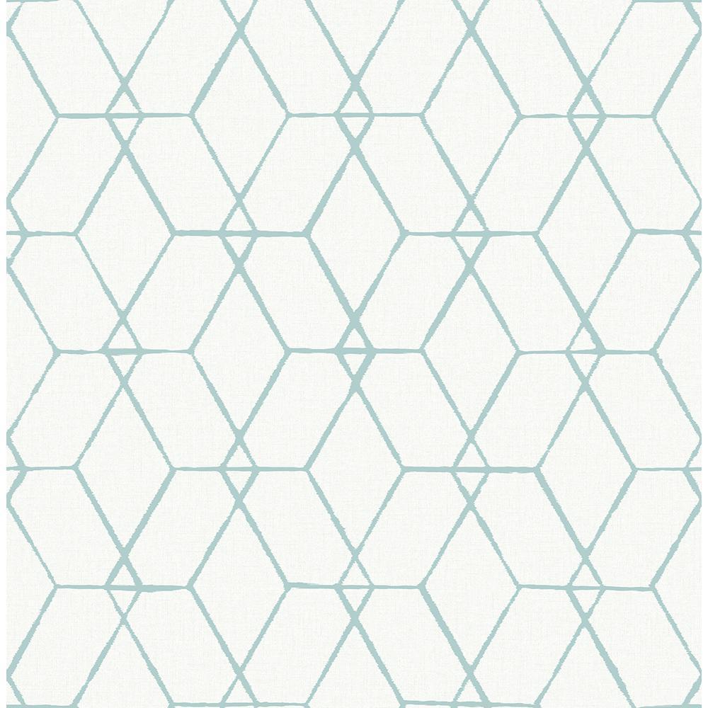 A-Street 56.4 sq. ft. Osterlen Teal Trellis Wallpaper 2889-25251