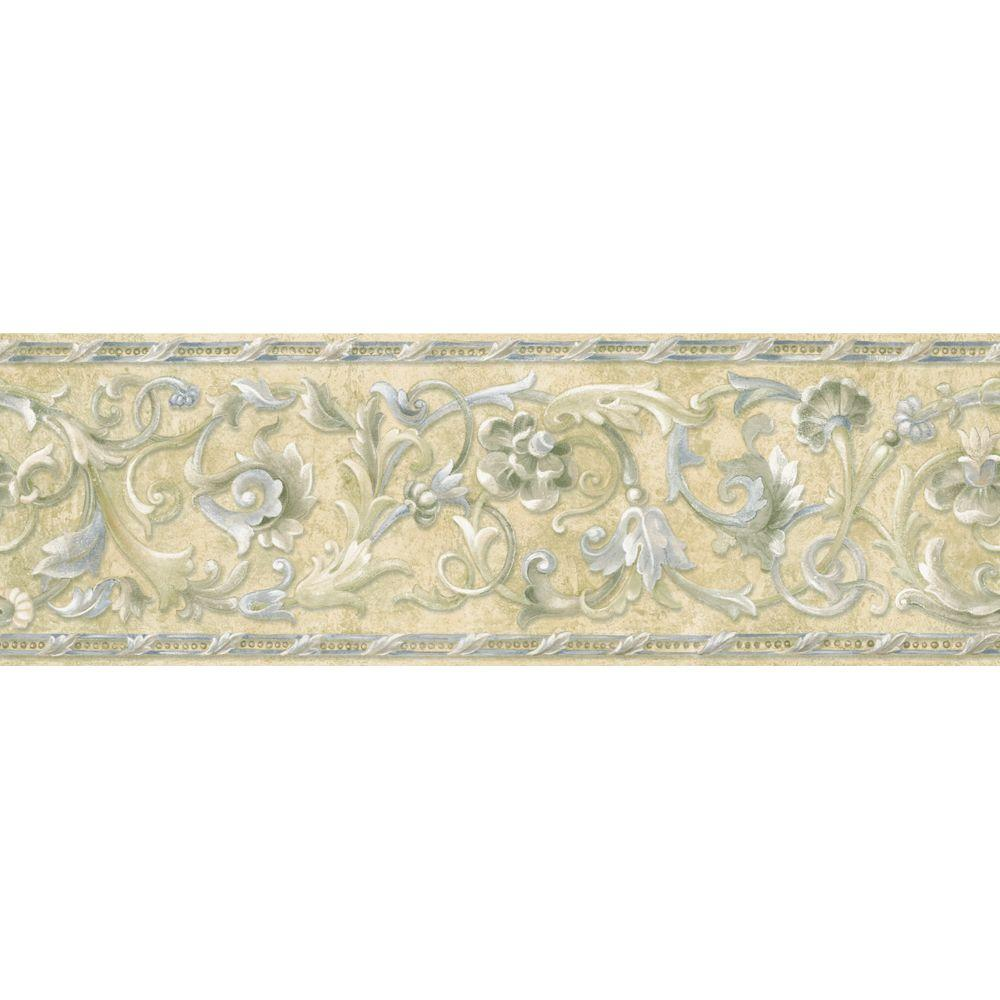 The Wallpaper Company 6.83 in. x 15 ft. Blue and Beige Floral Scroll Border