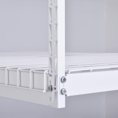42 in. H x 96 in. W x 32 in. D Adjustable Height Garage Ceiling Mounted Storage Unit in White