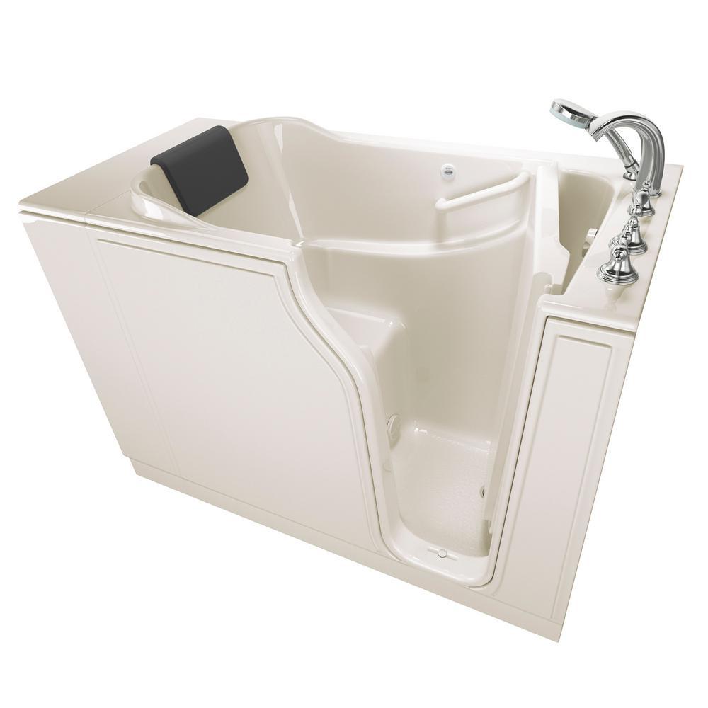 Gelcoat Premium Series 52 in. Right Hand Walk-In Soaking Tub in Linen