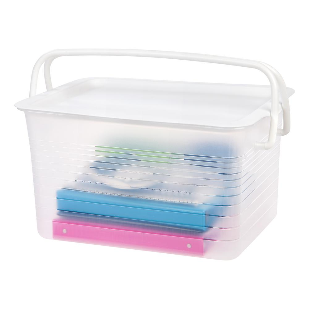 IRIS Large Stacking Storage Basket w/ Handles (4-Pack), Clear This large stacking basket with lid is a great storage solution for organizing your craft projects and supplies. The lid snaps securely to keep contents protected and the handles allow for portability. With a sturdy lid design, you are able to stack multiple units to maximize storage and organization. Color: Clear.