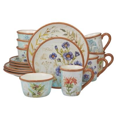 Herb Blossoms 16-Piece Multi-Colored Dinnerware Set