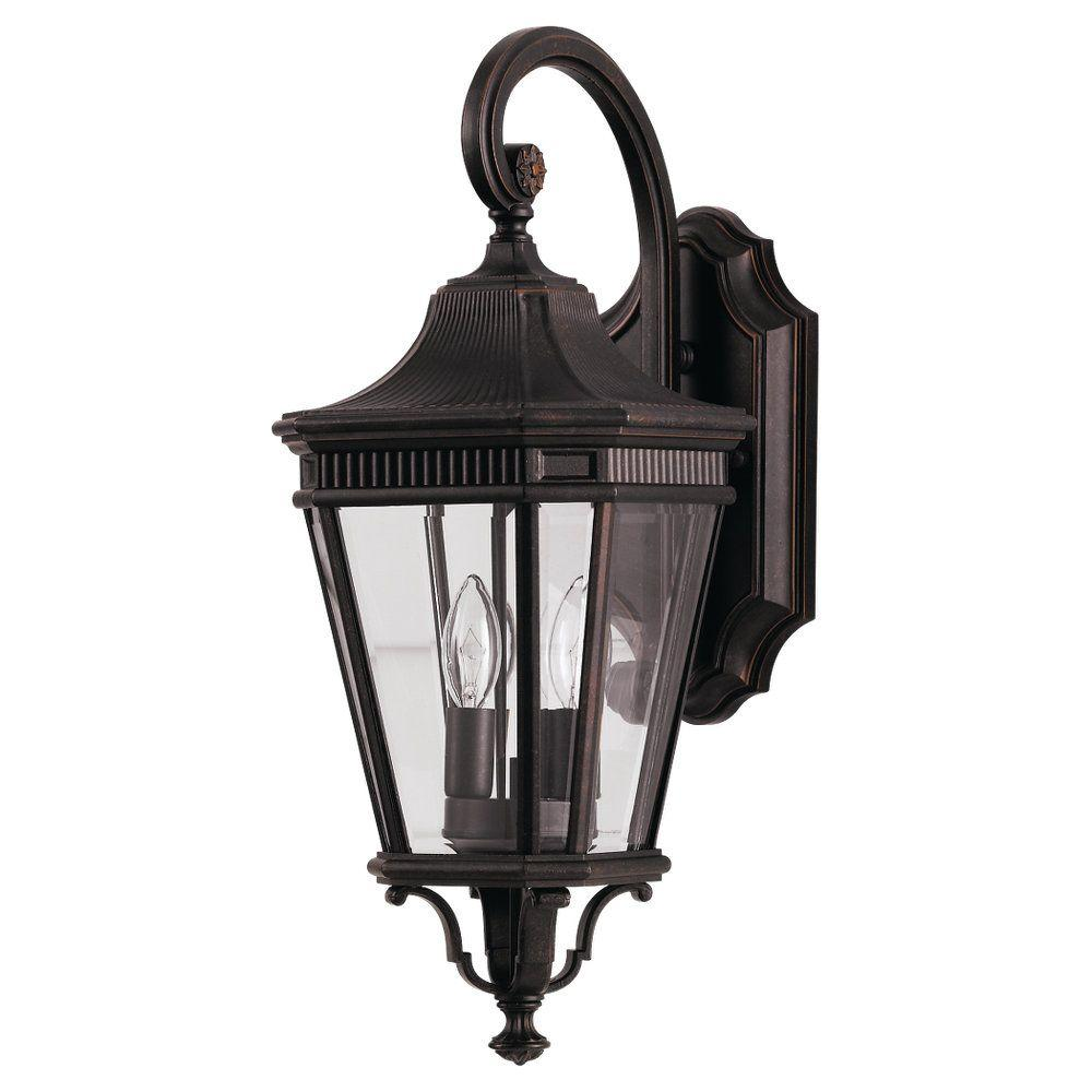 Cotswold Lane 2-Light Grecian Bronze Outdoor 20.5 in. Wall Lantern Sconce