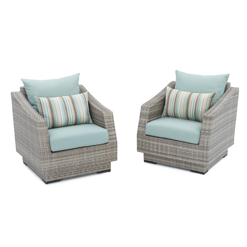 Rst Brands Cannes Patio Club Chair With Bliss Blue Cushions 2 Pack