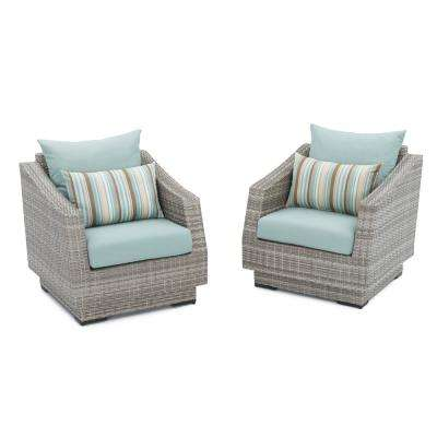 Cannes Patio Club Chair with Bliss Blue Cushions (2-Pack)
