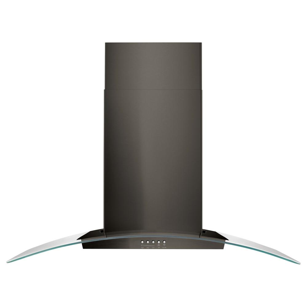 36 in. Concave Glass Wall Mount Range Hood in Black Stainless