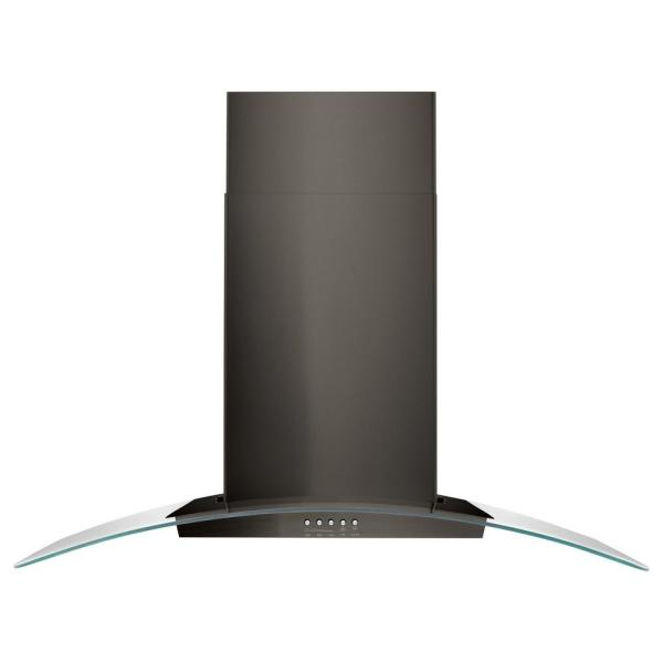 36 in. Concave Glass Wall Mount Range Hood in Black Stainless Steel