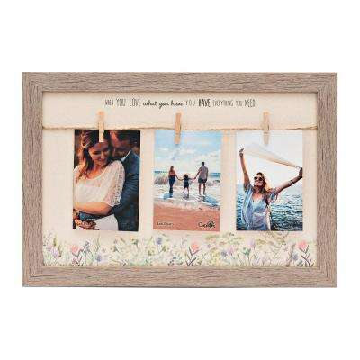 "Homespun Collection Holds 3,  4 in x 6 in Photos Barnwood Looking Frame ""Love What You Have"" Hanging Photo Frame"