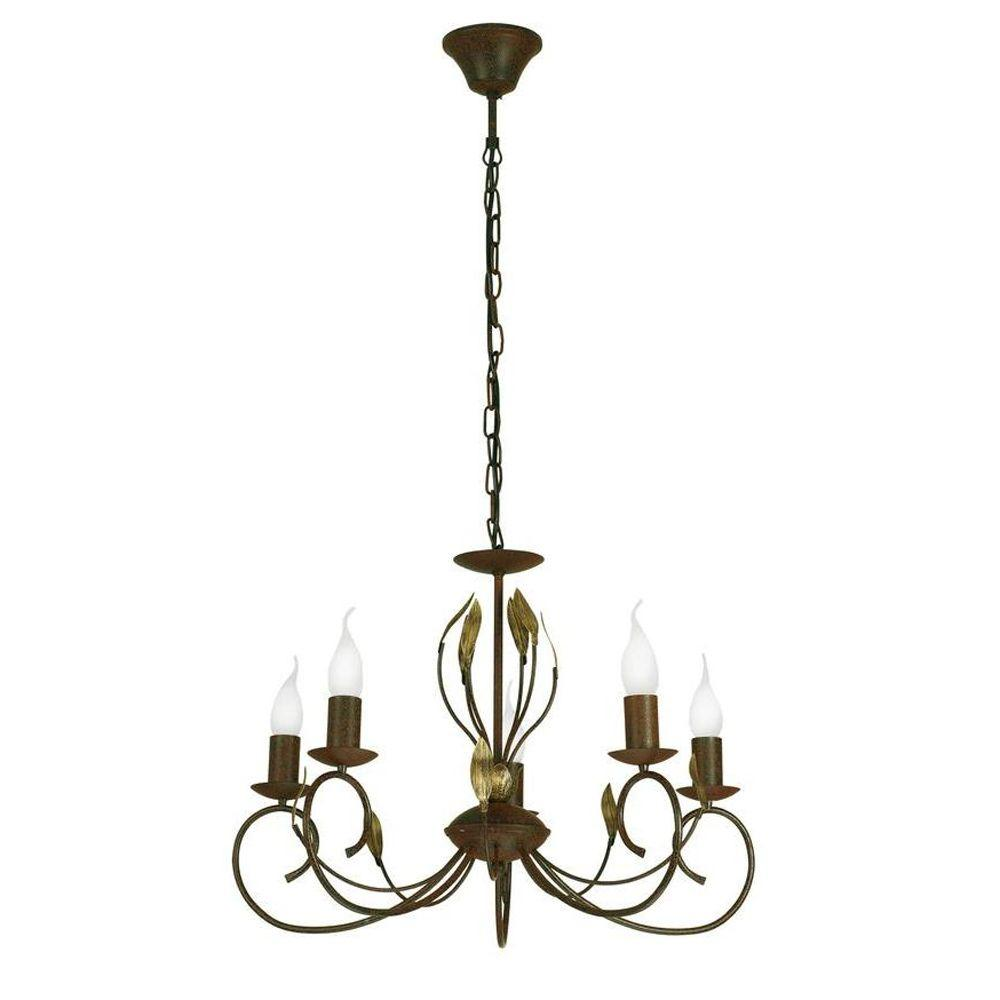 Eglo Catania 5-Light Antique Brown Ceiling Mount Chandelier with Gold Accents