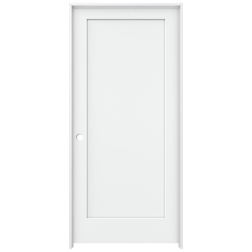 Jeld Wen 36 In X 80 In Madison White Painted Right Hand Smooth Solid Core Molded Composite Mdf
