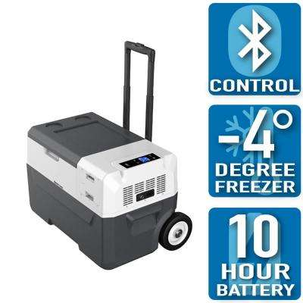 LiONCooler 32 Qt. Battery Powered Portable Chest Fridge Freezer Cooler w/10+ Hour Run Time, Recharge Using Solar/DC/AC
