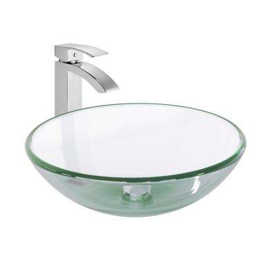 Glass Vessel Sink in Crystalline and Duris Vessel Faucet Set in Chrome
