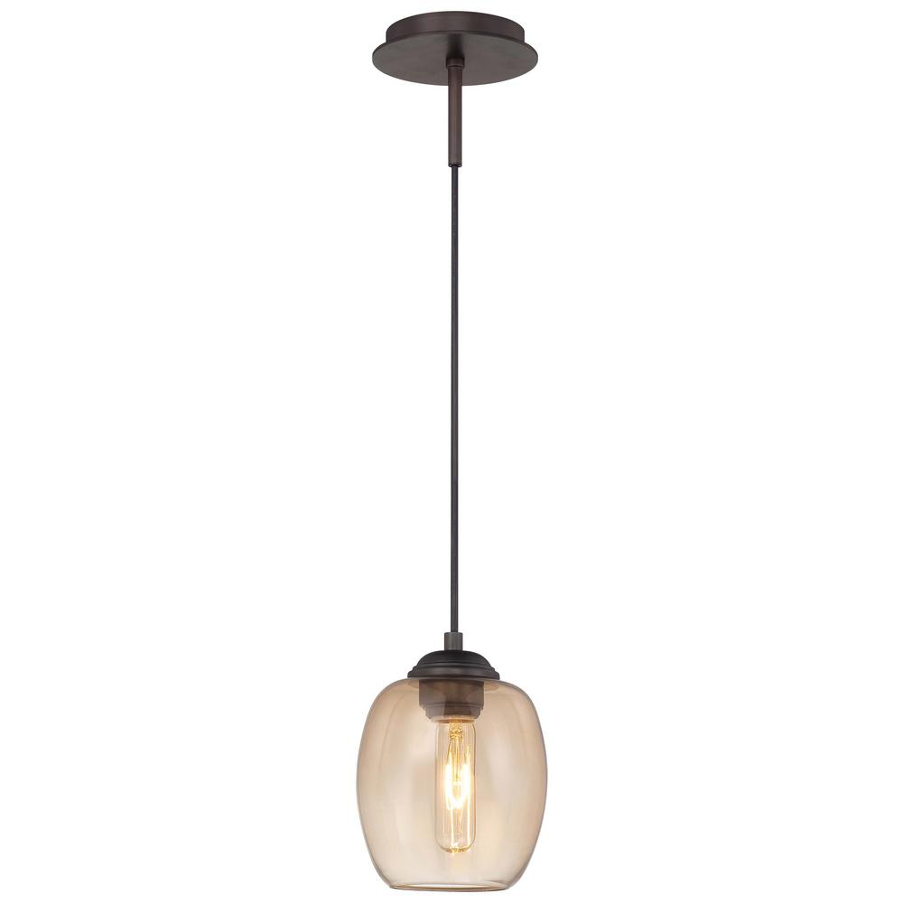 George Kovacs Bubble 1 Light Copper Bronze Patina Pendant With Teak Gl Convertible To Wall