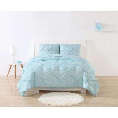 Anytime Stripe Pinch Pleat Aqua Full/Queen Comforter Set with 2-Shams