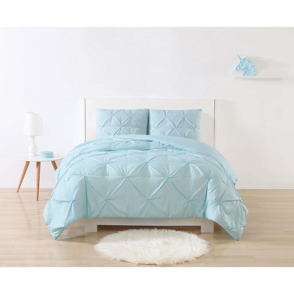 Anytime Stripe Pinch Pleat Aqua Twin Extra Long Comforter Set