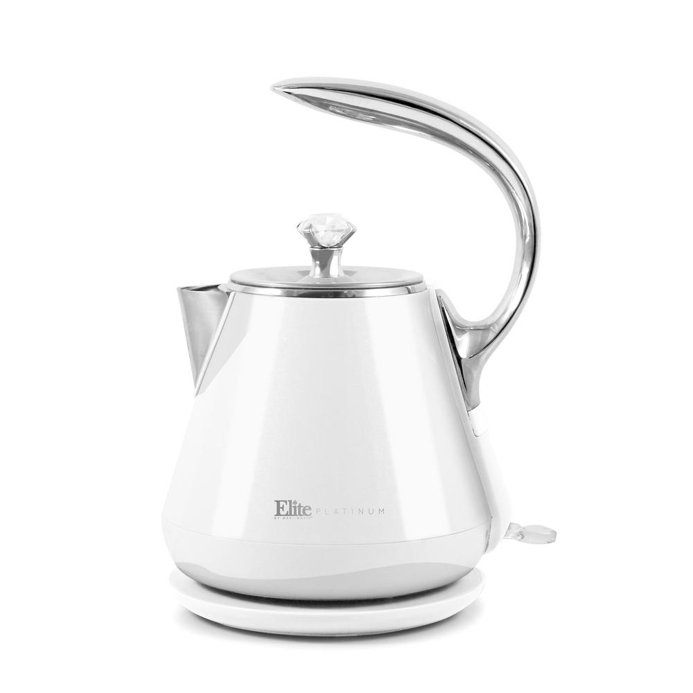 1.2 l White Cool-Touch Stainless Steel Electric Kettle The Elite Platinum 1.2 l Cool Touch Electric Kettle is the perfect blend of elegance and functionality. Not only is this kettle a beautiful addition to any kitchen countertop, but it also boils water efficiently, saving time and energy over the use of conventional stovetop kettles. This kettle boasts a double wall cool touch exterior and a BPA-Free Food Grade 304 Stainless Steel Interior with zero contact between plastic and water surfaces. Color: White.