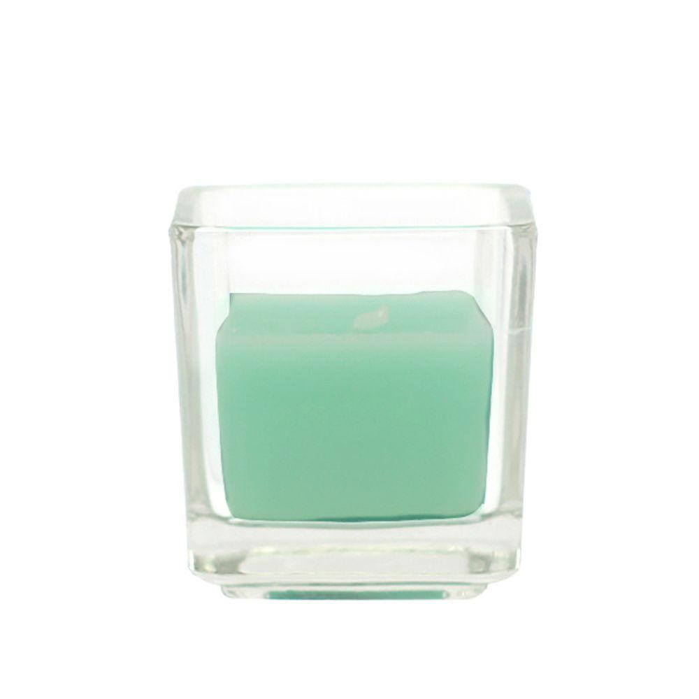 Zest Candle 2 in. Aqua Square Glass Votive Candles (12-Box)