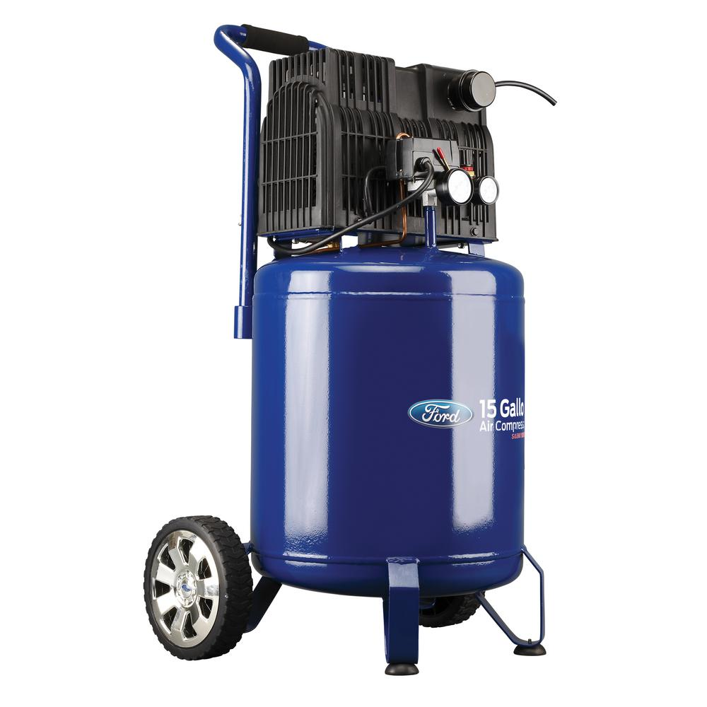 Ford 15 Gal. 125 PSI Vertical Tank High Performance 2 HP Quiet Portable Corded Electric Oil-Free Air Compressor on Wheels