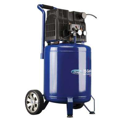 15 Gal. 125 PSI Vertical Tank High Performance 2 HP Quiet Portable Corded Electric Oil-Free Air Compressor on Wheels
