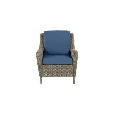 Cambridge Gray Wicker Outdoor Patio Lounge Chair with CushionGuard Sky Blue Cushions