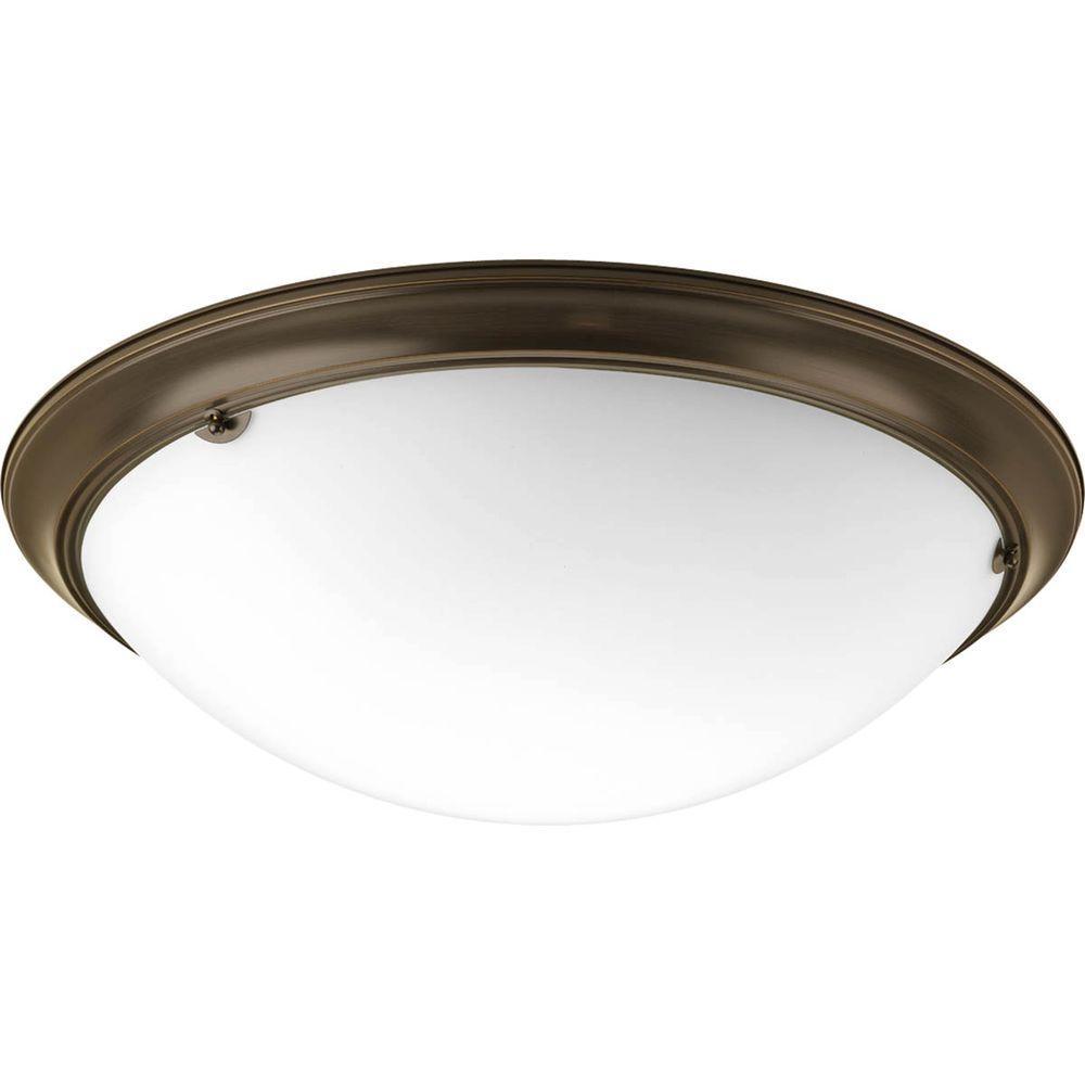 Eclipse 4-Light Antique Bronze Flushmount with Satin White Glass