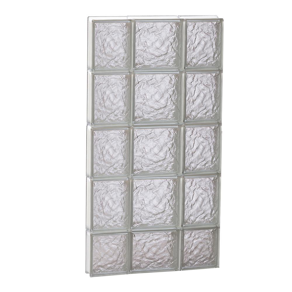 Clearly Secure 19.25 in. x 36.75 in. x 3.125 in. Frameless Ice Pattern Non-Vented Glass Block Window