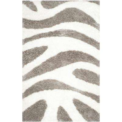 Barcelona Shag Ivory/Silver 4 ft. x 6 ft. Area Rug