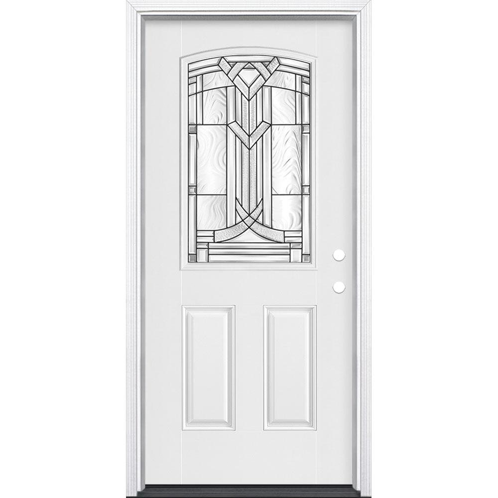 36 in. x 80 in. Chatham Camber 1/2 Lite Left Hand Primed Smooth Fiberglass Prehung Front Door w/ Brickmold, Vinyl Frame