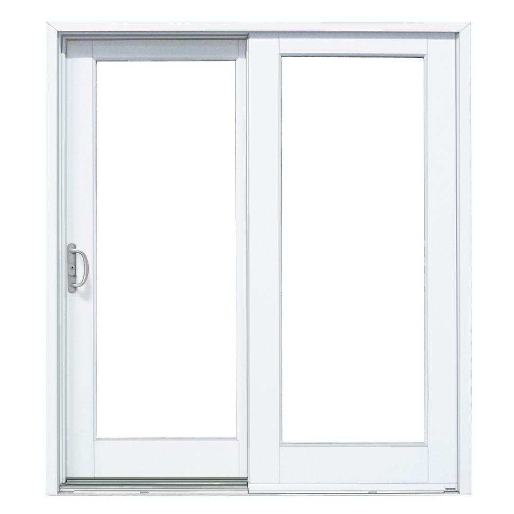 72 in. x 80 in. Woodgrain Interior and Smooth White Left-Hand Composite DP50 Sliding Patio Door