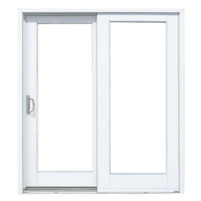 72 in. x 80 in. Woodgrain Interior and Smooth White Left-Hand Composite PG50 Sliding Patio Door