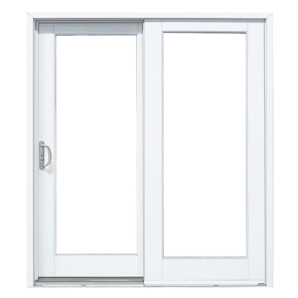 MP Doors 72 in. x 80 in. Woodgrain Interior and Smooth White Exterior Left-Hand Composite Sliding Patio Door