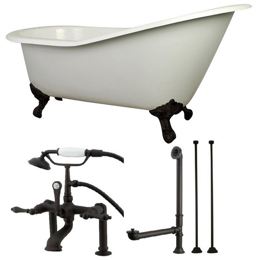 Aqua Eden Slipper 5 ft. Cast Iron Clawfoot Bathtub in White with Faucet Combo in Oil Rubbed Bronze