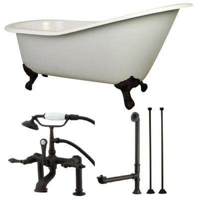 Slipper 5 ft. Cast Iron Clawfoot Bathtub in White with Faucet Combo in Oil Rubbed Bronze