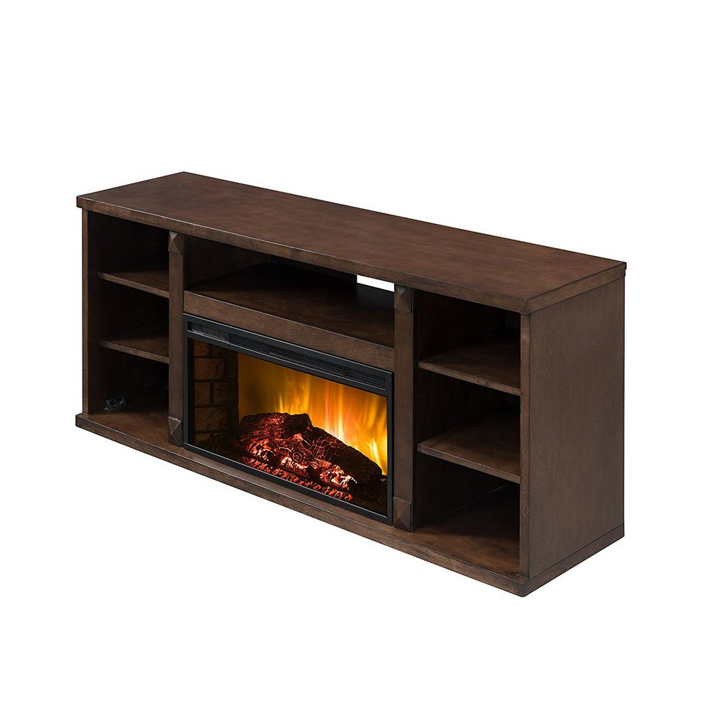 Toonhio 59 in. Contemporary Electric Fireplace TV Stand in Toffee Sapele