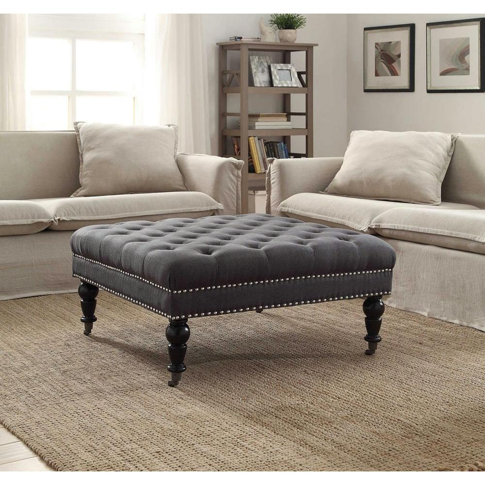 Linon Home Decor Isabelle Charcoal Accent Ottoman