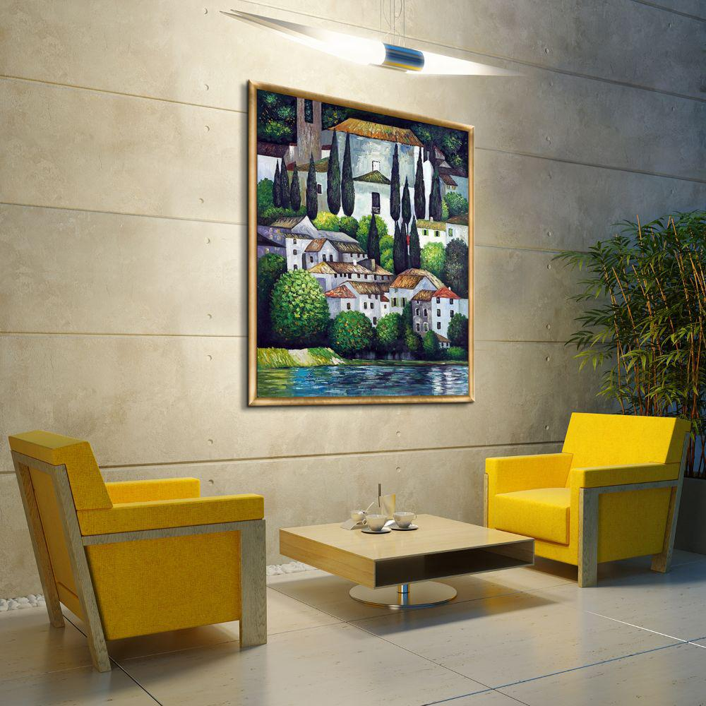 LP LA PASTICHE 51 in. x 39 in. Church in Cassone (Landscape with Cypress) with Gold Frame  by Gustav Klimt Framed Wall Art, Multi-Colored was $1493.0 now $727.23 (51.0% off)