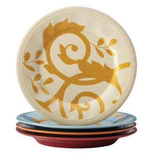 Dinnerware Gold Scroll 4-Piece Salad Plate Set in Assorted