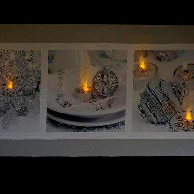 11.75 in. x 27.5 in. LED Lighted Shimmering Silver Splendor Christmas Canvas Wall Art