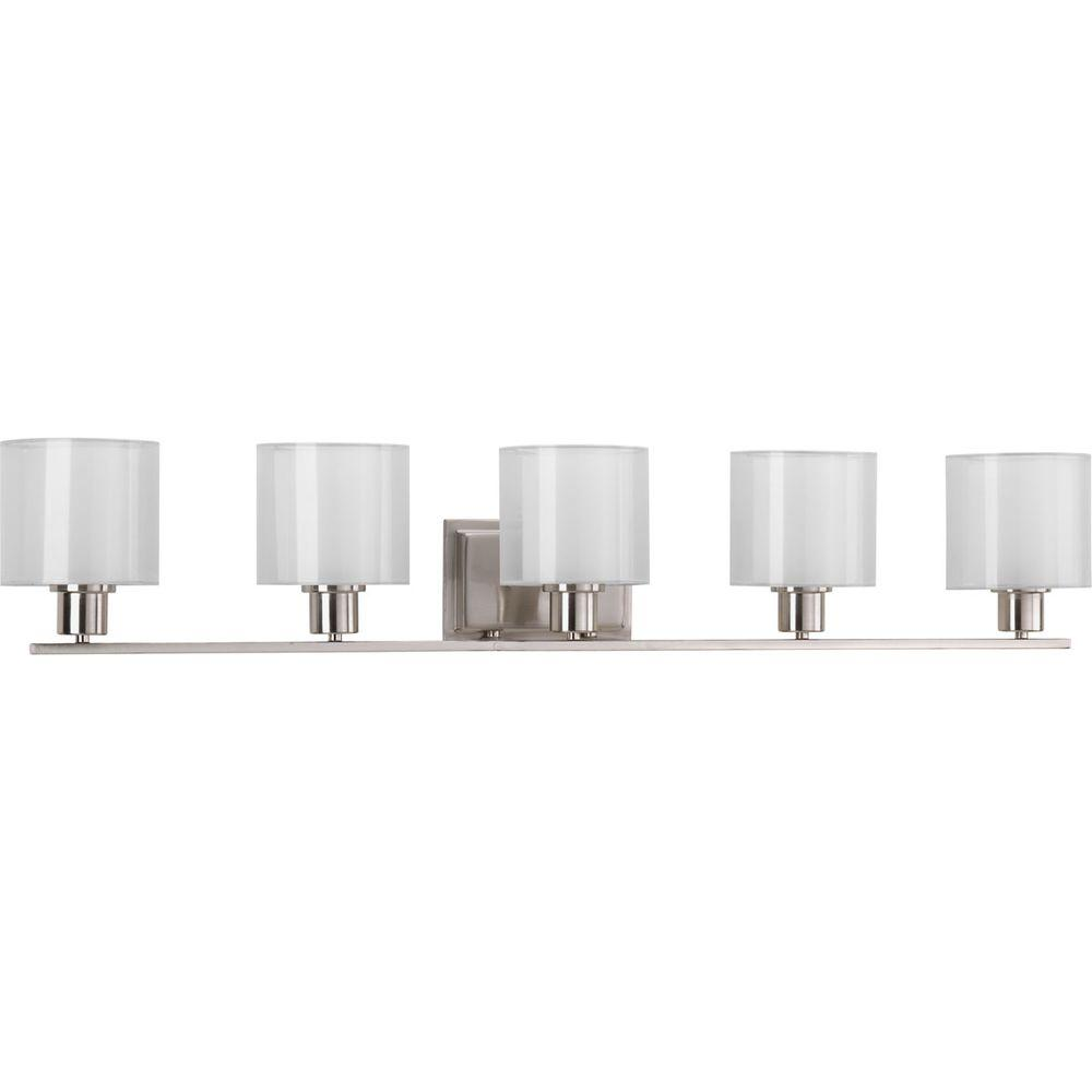 Progress Lighting Invite Collection In Light Brushed Nickel - Chrome 5 light bathroom fixture
