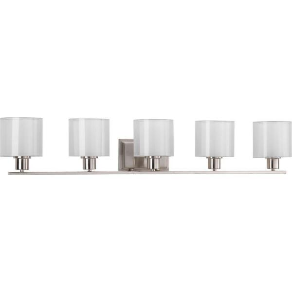 Invite Collection 41.5 in. 5-Light Brushed Nickel Bathroom Vanity Light