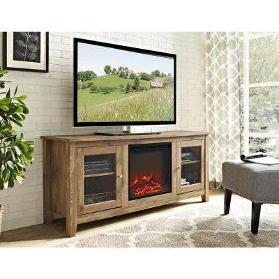 58 In. Wood Media TV Stand Console With Fireplace   Barnwood · Walker  Edison Furniture Company ...